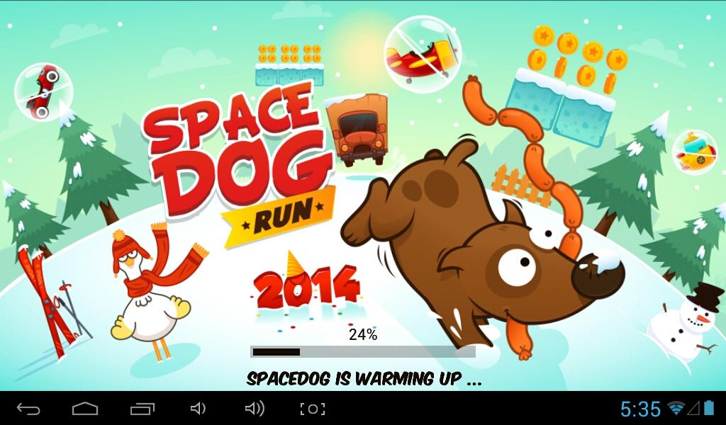 Opening screen of Space Dog Run.