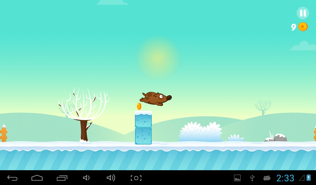 Space Dog Jumps over the steady frozen obstacle!