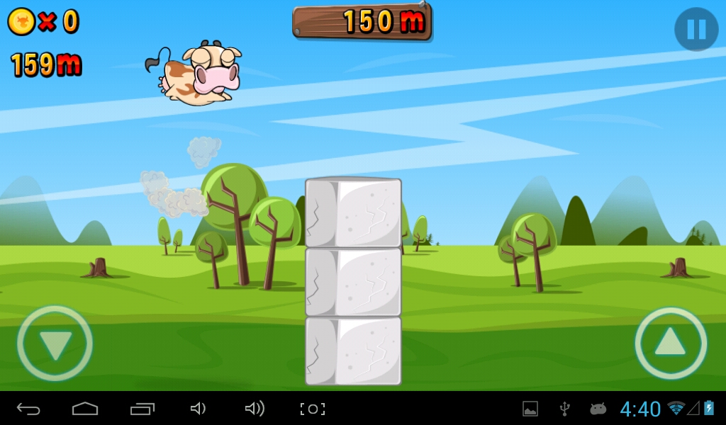 The cow seems to fly while doing adouble jump to avoid a pile of solid blocks!