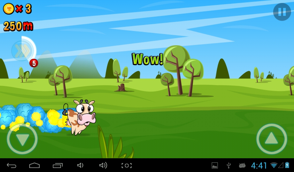 The cow is in rage! She's under a booster, a power up that gives her the capacity to break obstacles along the way.